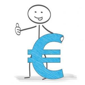 Strichmännchen mit Eurozeichen